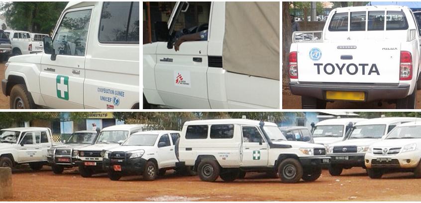 Ebola - Parc automobile des ONG à Dubrékà - Guinée