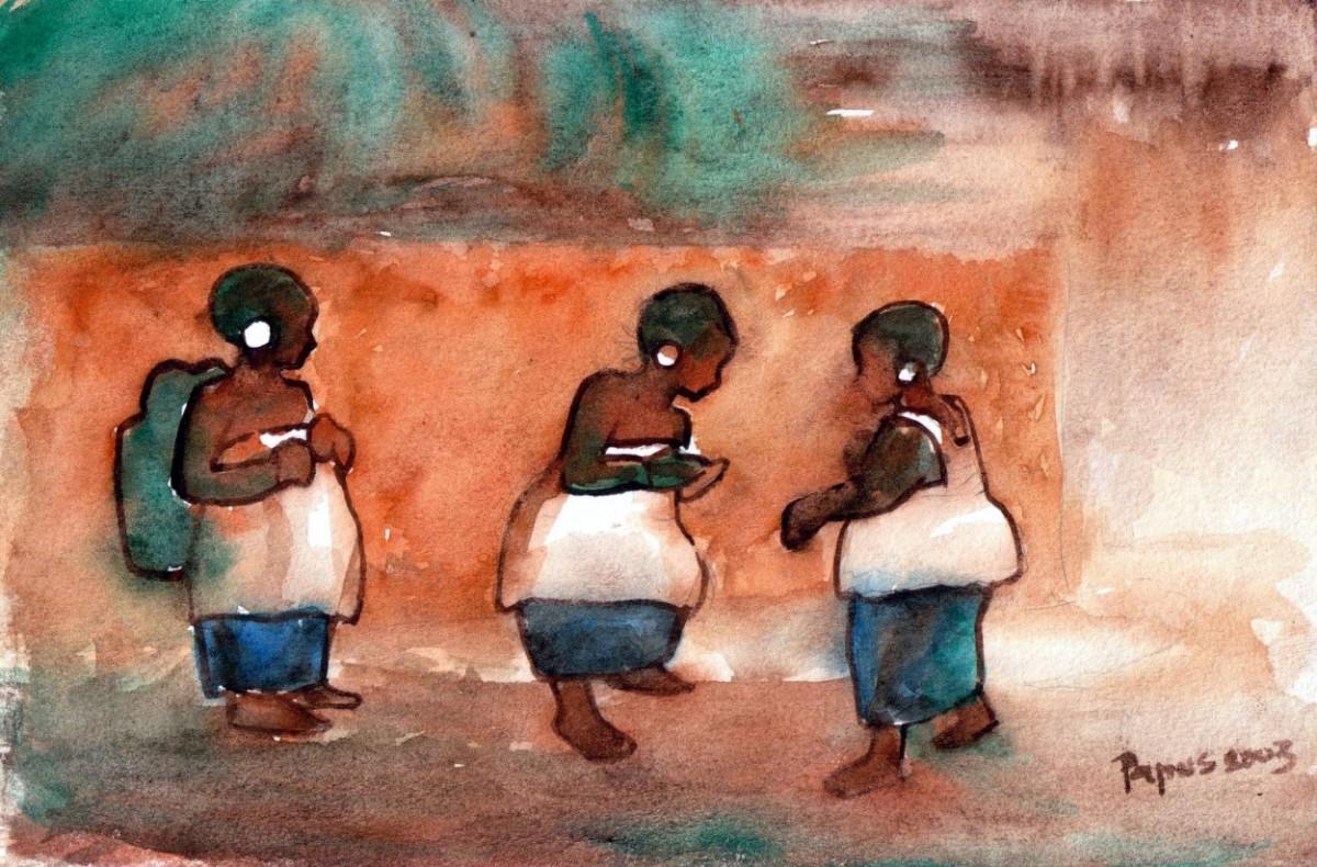 Jeunes filles en tenues rituéliques lors d'une cérémonie d'excision -  Fresque de Papus Bangoura